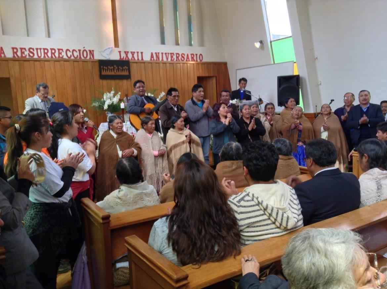 Easter morning worship at the Resurrection Church, La Paz